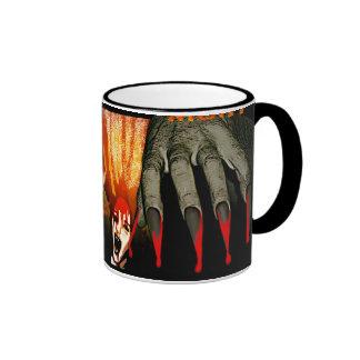 Creepy hand hallowen night ringer coffee mug