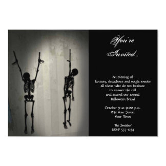Creepy Hanging Skeletons on a Wall Halloween Party Card