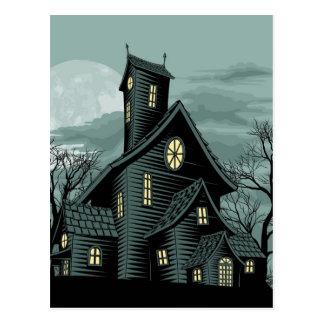 Creepy haunted ghost house scene illustration postcards