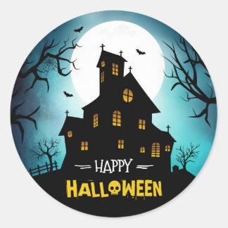 Creepy Haunted House Blue Sky Moon Happy Halloween Classic Round Sticker