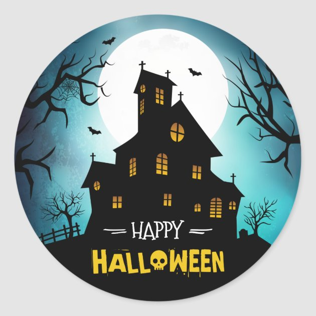Creepy haunted house blue sky moon happy halloween classic round sticker
