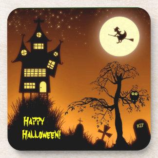 Creepy Haunted House Halloween Decorative Beverage Coaster