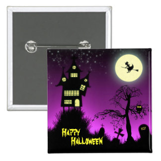 Creepy Haunted House Halloween Decorative Pinback Button