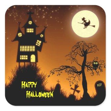 Halloween Themed Creepy Haunted House Halloween Decorative Square Sticker