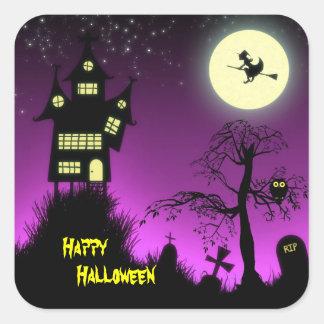 Creepy Haunted House Halloween Decorative Square Stickers