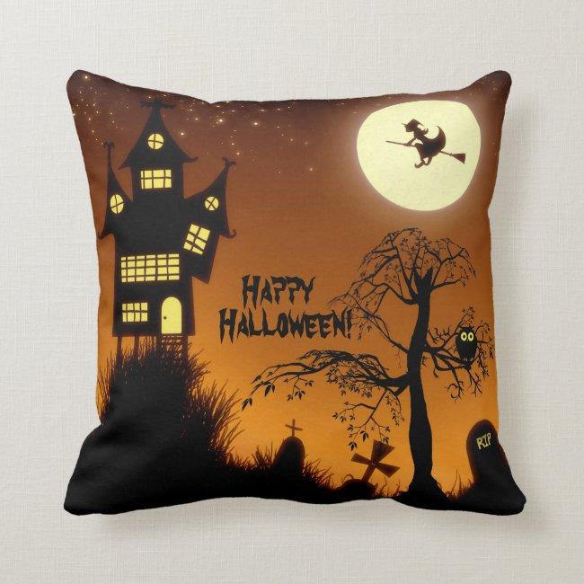 Creepy Haunted House Halloween Decorative Throw Pillow