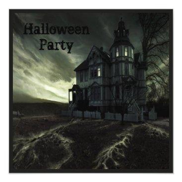 Halloween Themed Creepy Haunted House Halloween Party Card