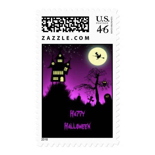 Creepy Haunted House Halloween Postage Stamps