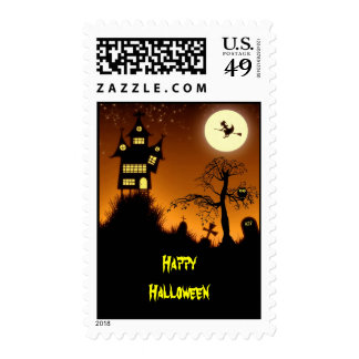 Creepy Haunted House Halloween Postage Stamps