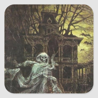 Creepy Haunted House Halloween sticker