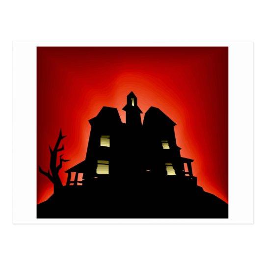 Creepy Haunted House Postcard