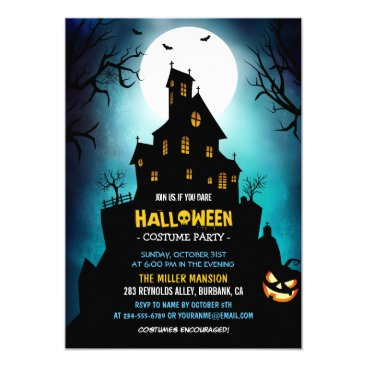 Halloween Themed Creepy Haunted House Scary Halloween Party Card