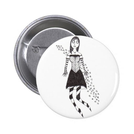 creepy heart girl 2 inch round button