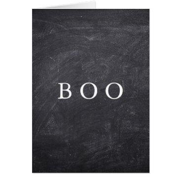 Aqua Creepy Hollow Halloween Chalkboard Boo Card