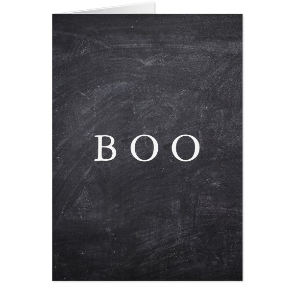 Creepy Hollow Halloween Chalkboard Boo Card