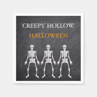 Creepy Hollow Halloween Party Skeleton Napkins Paper Napkin