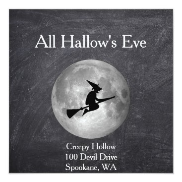 Beach Themed Creepy Hollow Halloween Witch and Moon Square Card