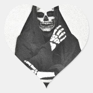 Creepy Hooded Figure Heart Sticker