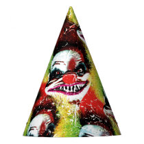 creepy horror clown pattern party hat