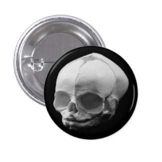 Creepy Infant Skull Goth button pin