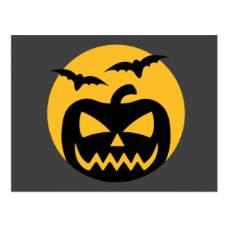 Creepy Jack-O-Lantern and bats Postcard