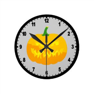 Creepy Jack-O-'Lantern Round Clock