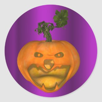Creepy Jack O'Lantern Purple Halloween Classic Round Sticker
