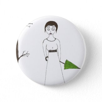 Creepy Jane Austen Rice Painting button