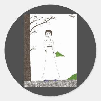 Creepy Jane Austen Rice Painting Classic Round Sticker