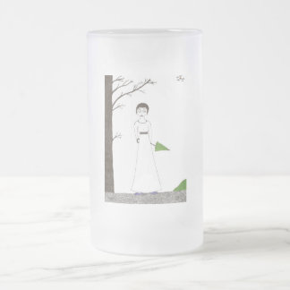Creepy Jane Austen Rice Painting Frosted Glass Beer Mug