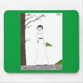 Creepy Jane Austen Rice Painting Mouse Pad