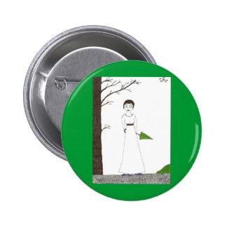 Creepy Jane Austen Rice Painting Pinback Button