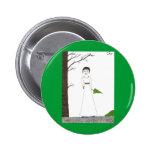 Creepy Jane Austen Rice Painting Pinback Buttons