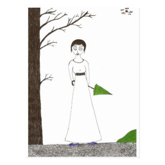 Creepy Jane Austen Rice Painting Postcard