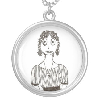 Creepy Jane Austen Silver Plated Necklace