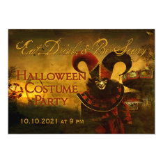 Creepy Jester Carnival Halloween Invitation at Zazzle