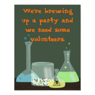 Creepy Laboratory Halloween Invitation, two sides 4.25x5.5 Paper Invitation Card