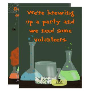 Creepy Laboratory Halloween Invitation, two sides Card