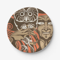 Creepy Man With Talons And Owl Paper Plate