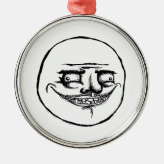 Creepy Me Gusta Face Metal Ornament