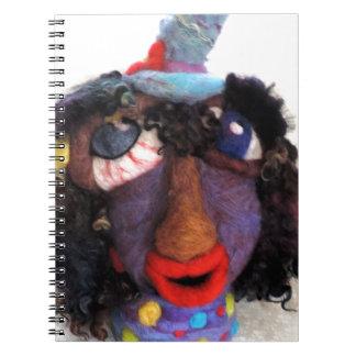 Creepy Needle Felted Doll Fiber Art Photo Spiral Notebook