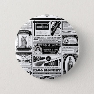 creepy newspaper pinback button