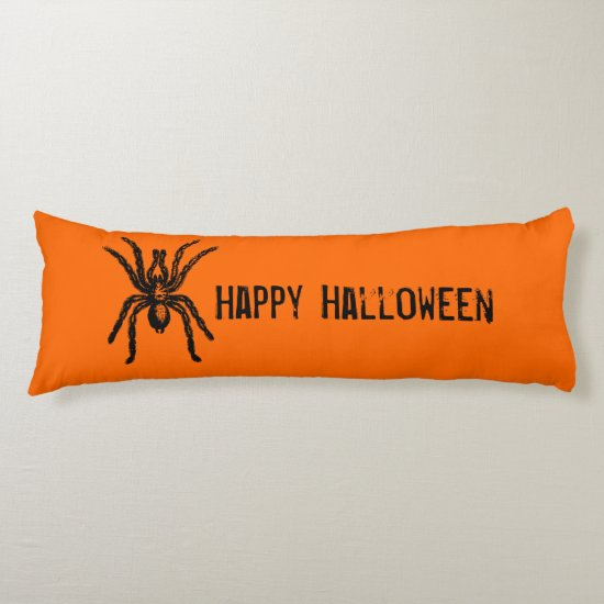 Creepy Orange & Black Large Halloween Spider Body Pillow