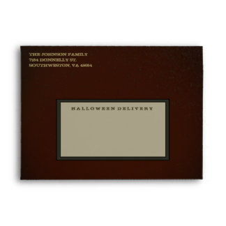 Creepy Orange, Green & Gold Halloween Envelope