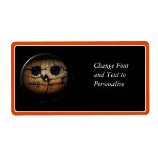 Creepy Orange Pumpkin Jack-o-Lantern Personalized Shipping Labels
