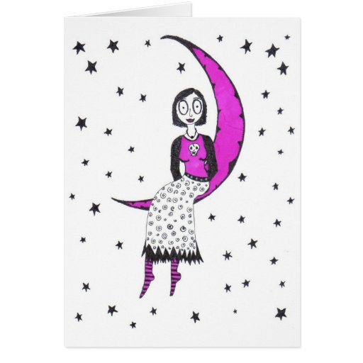 Creepy over the moon and stars card