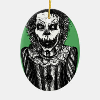 Creepy peek-a-boo clown ceramic ornament
