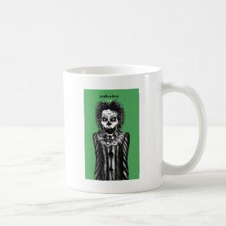 Creepy peek-a-boo clown coffee mug