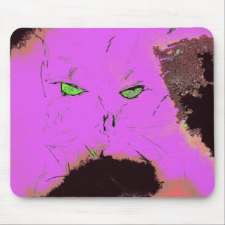 creepy pink cat mouse pad