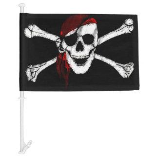 Creepy Pirate Skull and Crossbones Car Flag